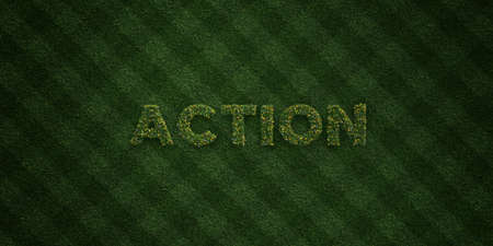 ACTION - fresh Grass letters with flowers and dandelions - 3D rendered royalty free stock image. Can be used for online banner ads and direct mailers.
