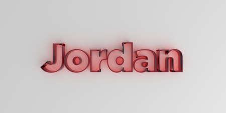 Jordanië - Rode glastekst op witte achtergrond - 3D teruggegeven royalty vrij voorraadbeeld.