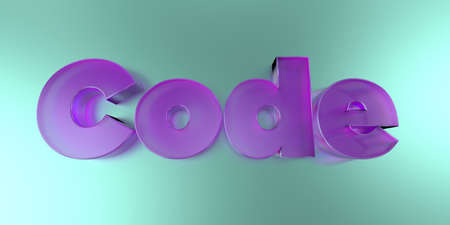 Code - colorful glass text on vibrant background - 3D rendered royalty free stock image.