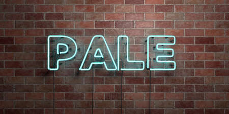 PALE - fluorescent Neon tube Sign on brickwork - Front view - 3D rendered royalty free stock picture. Can be used for online banner ads and direct mailers. Foto de archivo