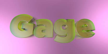 Gage - colorful glass text on vibrant background - 3D rendered royalty free stock image.