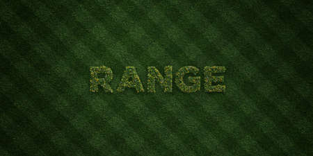 free range: RANGE - fresh Grass letters with flowers and dandelions - 3D rendered royalty free stock image. Can be used for online banner ads and direct mailers.