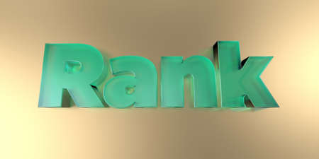 Rank - colorful glass text on vibrant background - 3D rendered royalty free stock image.