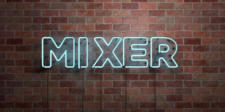 MIXER - fluorescent Neon tube Sign on brickwork - Front view - 3D rendered royalty free stock picture. Can be used for online banner ads and direct mailers.