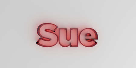 sue: Sue - Red glass text on white background - 3D rendered royalty free stock image. Stock Photo