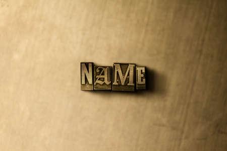 NAME - Nahaufnahme des grungy Weinlese gesetzten Wortes auf Metallhintergrund. Lizenzfreie freie Abbildung. Kann für Online-Bannerwerbung und Direktwerbung verwendet werden.