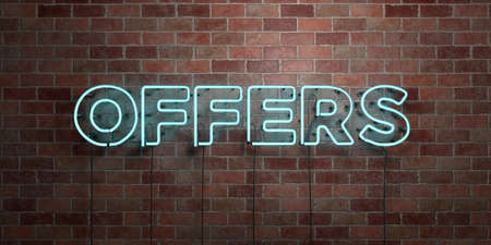 OFFERS - fluorescent Neon tube Sign on brickwork - Front view - 3D rendered royalty free stock picture. Can be used for online banner ads and direct mailers. Stock Photo