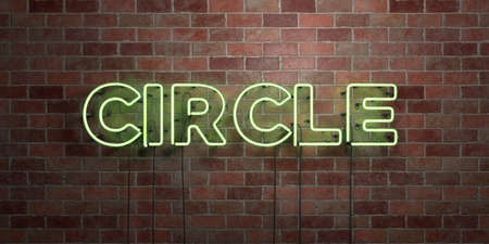CIRCLE - fluorescent Neon tube Sign on brickwork - Front view - 3D rendered royalty free stock picture. Can be used for online banner ads and direct mailers.