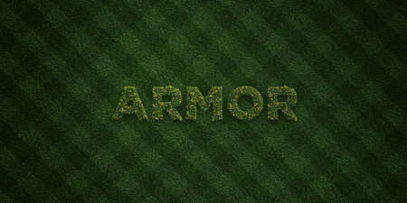 ARMOR - fresh Grass letters with flowers and dandelions - 3D rendered royalty free stock image. Can be used for online banner ads and direct mailers.