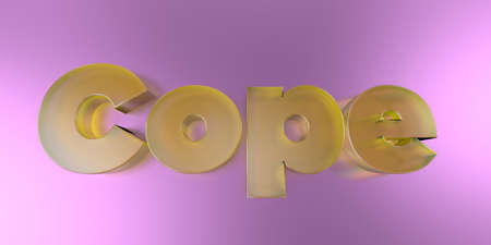 Cope - colorful glass text on vibrant background - 3D rendered royalty free stock image.