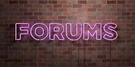 FORUMS - fluorescent Neon tube Sign on brickwork - Front view - 3D rendered royalty free stock picture. Can be used for online banner ads and direct mailers.