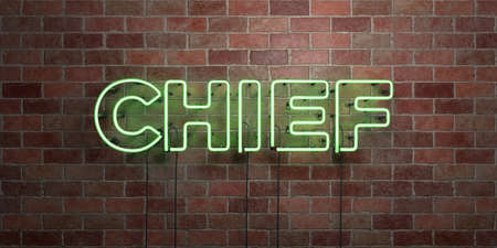 CHIEF - fluorescent Neon tube Sign on brickwork - Front view - 3D rendered royalty free stock picture. Can be used for online banner ads and direct mailers. Banque d'images