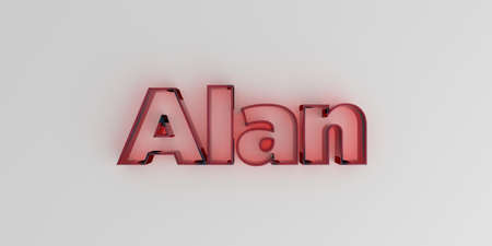 Alan - Red glass text on white background - 3D rendered royalty free stock image.