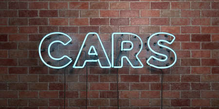 CARS - fluorescent Neon tube Sign on brickwork - Front view - 3D rendered royalty free stock picture. Can be used for online banner ads and direct mailers.