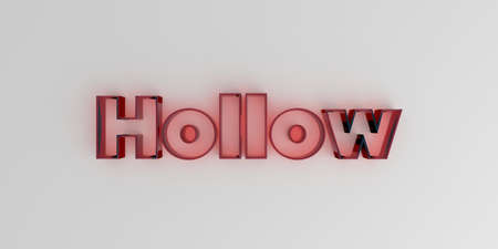 hollow body: Hollow - Red glass text on white background - 3D rendered royalty free stock image.