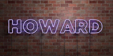 howard: HOWARD - fluorescent Neon tube Sign on brickwork - Front view - 3D rendered royalty free stock picture. Can be used for online banner ads and direct mailers.