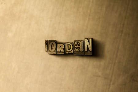 JORDANIÃ‹ - close-up van grungy wijnoogst gezet woord op metaalachtergrond. Royalty vrije stock illustratie. Kan worden gebruikt voor online banneradvertenties en direct mail.