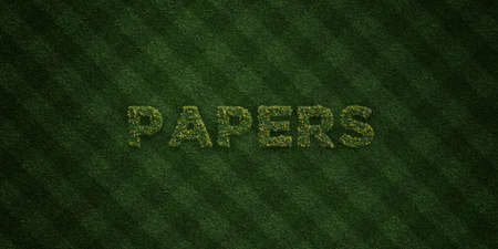 PAPERS - fresh Grass letters with flowers and dandelions - 3D rendered royalty free stock image. Can be used for online banner ads and direct mailers.