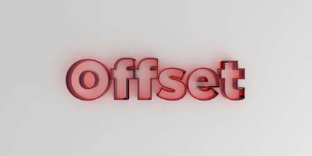 Offset - Red glass text on white background - 3D rendered royalty free stock image. Stock Photo