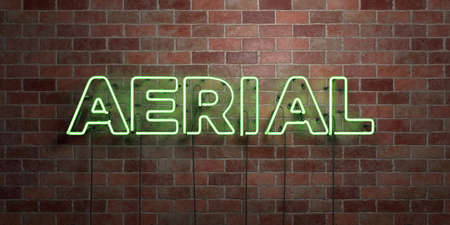 AERIAL - fluorescent Neon tube Sign on brickwork - Front view - 3D rendered royalty free stock picture. Can be used for online banner ads and direct mailers. Stock Photo