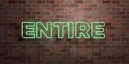 ENTIRE - fluorescent Neon tube Sign on brickwork - Front view - 3D rendered royalty free stock picture. Can be used for online banner ads and direct mailers.
