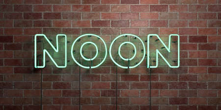 NOON - fluorescent Neon tube Sign on brickwork - Front view - 3D rendered royalty free stock picture. Can be used for online banner ads and direct mailers.