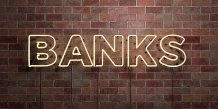 BANKS - 형광등 네온 튜브 brickwork에 정면 - 3D 렌더링 된 로열티 프리 스톡 사진을 보았습니다. 온라인 배너 광고 및 다이렉트 메일러에 사용할 수 있습니다. 스톡 콘텐츠 - 73153530
