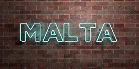 몰타 - 형광 네온 튜브 brickwork 전면보기 - 3D 렌더링 된 로열티 프리 스톡 사진을. 온라인 배너 광고 및 다이렉트 메일러에 사용할 수 있습니다.