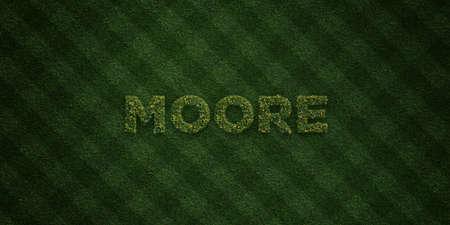 ムーア - 花とタンポポの新鮮な草の手紙 - 3 D レンダリングされたロイヤリティ フリー ストック イメージ。オンライン バナー広告やダイレクト メ