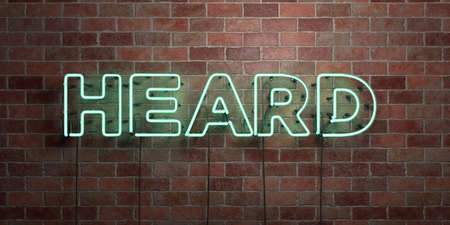 heard: HEARD - fluorescent Neon tube Sign on brickwork - Front view - 3D rendered royalty free stock picture. Can be used for online banner ads and direct mailers.