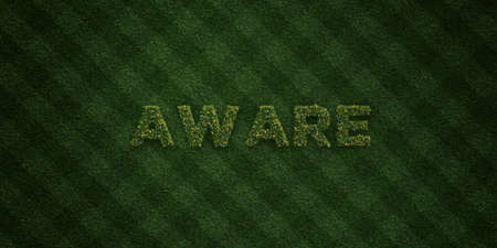 be aware: AWARE - fresh Grass letters with flowers and dandelions - 3D rendered royalty free stock image. Can be used for online banner ads and direct mailers.