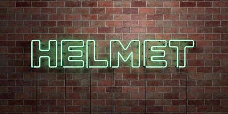 헬멧 - 형광 네온 튜브 brickwork 전면보기 - 3D 렌더링 된 로열티 프리 스톡 사진을. 온라인 배너 광고 및 다이렉트 메일러에 사용할 수 있습니다. 스톡 콘텐츠 - 73153532