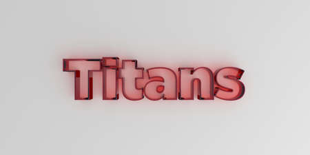 titans: Titans - Red glass text on white background - 3D rendered royalty free stock image.