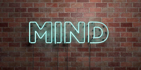 MIND - fluorescent Neon tube Sign on brickwork - Front view - 3D rendered royalty free stock picture. Can be used for online banner ads and direct mailers. Banque d'images