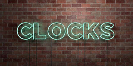 CLOCKS - fluorescent Neon tube Sign on brickwork - Front view - 3D rendered royalty free stock picture. Can be used for online banner ads and direct mailers.