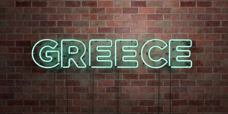 GREECE - fluorescent Neon tube Sign on brickwork - Front view - 3D rendered royalty free stock picture. Can be used for online banner ads and direct mailers.