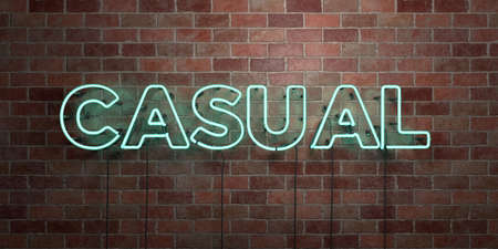 CASUAL - fluorescent Neon tube Sign on brickwork - Front view - 3D rendered royalty free stock picture. Can be used for online banner ads and direct mailers.