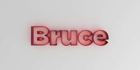 ブルース - 白い背景に赤いガラス テキスト - 3 D レンダリングされたロイヤリティ フリー ストック イメージ。