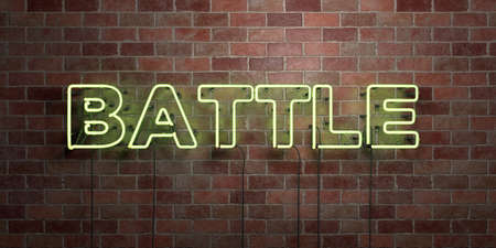BATTLE - fluorescent Neon tube Sign on brickwork - Front view - 3D rendered royalty free stock picture. Can be used for online banner ads and direct mailers.