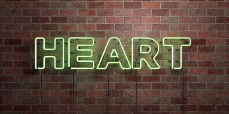 HEART - fluorescent Neon tube Sign on brickwork - Front view - 3D rendered royalty free stock picture. Can be used for online banner ads and direct mailers.