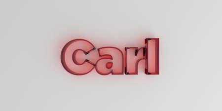 カール - 白い背景に赤いガラス テキスト - 3 D レンダリングされたロイヤリティ フリー ストック イメージ。