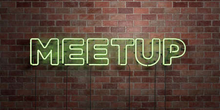 meetup: MEETUP - fluorescent Neon tube Sign on brickwork - Front view - 3D rendered royalty free stock picture. Can be used for online banner ads and direct mailers. Stock Photo