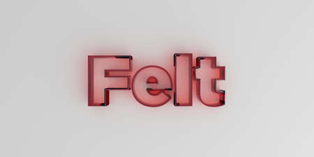 Felt - Red glass text on white background - 3D rendered royalty free stock image. Stock fotó - 72861318
