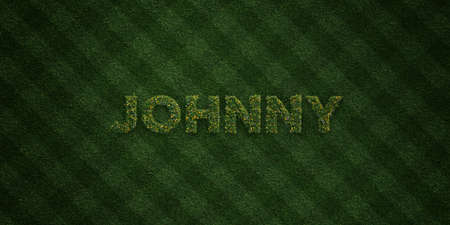 JOHNNY - fresh Grass letters with flowers and dandelions - 3D rendered royalty free stock image. Can be used for online banner ads and direct mailers. Stock Photo
