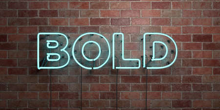 BOLD - fluorescent Neon tube Sign on brickwork - Front view - 3D rendered royalty free stock picture. Can be used for online banner ads and direct mailers.