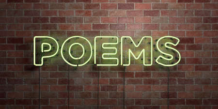 poems: POEMS - fluorescent Neon tube Sign on brickwork - Front view - 3D rendered royalty free stock picture. Can be used for online banner ads and direct mailers. Stock Photo