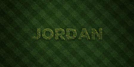 JORDAN - verse gras letters met bloemen en paardebloemen - afbeelding royalty-vrije stock 3D weergegeven. Kan worden gebruikt voor online banneradvertenties en direct mailers.