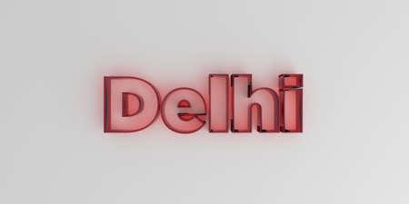 델리 - 흰색 배경에 빨간색 유리 텍스트 -3D 렌더링 로열티 무료 재고 이미지입니다.