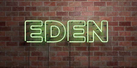 eden: EDEN - fluorescent Neon tube Sign on brickwork - Front view - 3D rendered royalty free stock picture. Can be used for online banner ads and direct mailers.