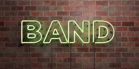 BAND - fluorescent Neon tube Sign on brickwork - Front view - 3D rendered royalty free stock picture. Can be used for online banner ads and direct mailers.